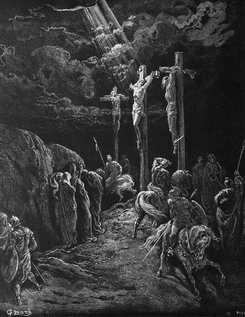 The death of Jesus  1  Le Sainte Bible  Traduction nouvelle selon la Vulgate par Mm  J -J  Bourasse et P  Janvier  Tours  Alfred Mame et Fils  2  1866 3  France 4  Gustave Doré