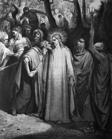 The Kiss of Judas  1  Le Sainte Bible  Traduction nouvelle selon la Vulgate par Mm  J -J  Bourasse et P  Janvier  Tours  Alfred Mame et Fils  2  1866 3  France 4  Gustave Doré Stock Photo - 12994063