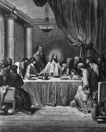 The Last Supper  1  Le Sainte Bible  Traduction nouvelle selon la Vulgate par Mm  J -J  Bourasse et P  Janvier  Tours  Alfred Mame et Fils  2  1866 3  France 4  Gustave Dor�