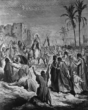 bible shepherd: Entry into Jerusalem  1  Le Sainte Bible  Traduction nouvelle selon la Vulgate par Mm  J -J  Bourasse et P  Janvier  Tours  Alfred Mame et Fils  2  1866 3  France 4  Gustave Dor�