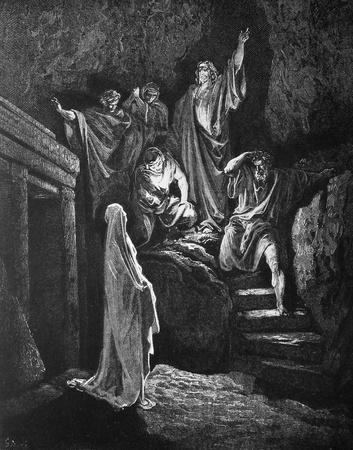 The Raising of Lazarus  1  Le Sainte Bible  Traduction nouvelle selon la Vulgate par Mm  J -J  Bourasse et P  Janvier  Tours  Alfred Mame et Fils  2  1866 3  France 4  Gustave Dor� Stock Photo - 12994085