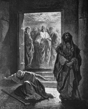 The Pharisees and the publican  1  Le Sainte Bible  Traduction nouvelle selon la Vulgate par Mm  J -J  Bourasse et P  Janvier  Tours  Alfred Mame et Fils  2  1866 3  France 4  Gustave Dor�