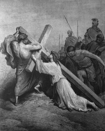 Jesus carries the heavy cross  1  Le Sainte Bible  Traduction nouvelle selon la Vulgate par Mm  J -J  Bourasse et P  Janvier  Tours  Alfred Mame et Fils  2  1866 3  France 4  Gustave Doré