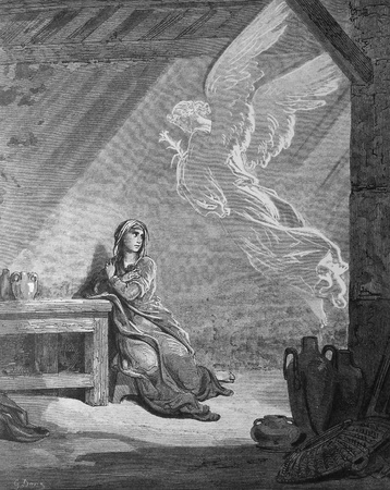 Angel Gabriel and the Mary  Annunciation  1  Le Sainte Bible  Traduction nouvelle selon la Vulgate par Mm  J -J  Bourasse et P  Janvier  Tours  Alfred Mame et Fils  2  1866 3  France 4  Gustave Dor�