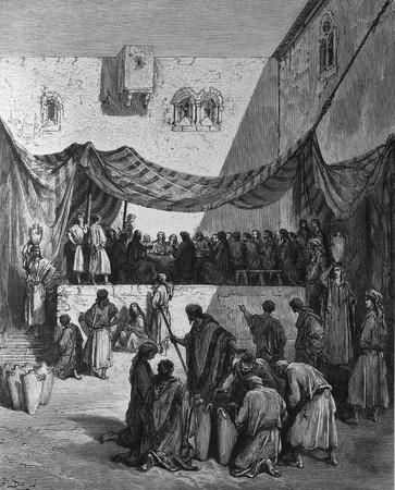 apostles: Wedding  1  Le Sainte Bible  Traduction nouvelle selon la Vulgate par Mm  J -J  Bourasse et P  Janvier  Tours  Alfred Mame et Fils  2  1866 3  France 4  Gustave Dor�
