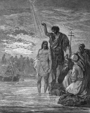 John baptized Jesus  1  Le Sainte Bible  Traduction nouvelle selon la Vulgate par Mm  J -J  Bourasse et P  Janvier  Tours  Alfred Mame et Fils  2  1866 3  France 4  Gustave Doré Stock Photo - 12994125