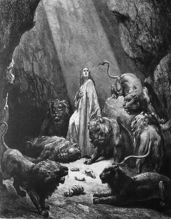 biblical: Daniel in the lions pit  1  Le Sainte Bible  Traduction nouvelle selon la Vulgate par Mm  J -J  Bourasse et P  Janvier  Tours  Alfred Mame et Fils  2  1866 3  France 4  Gustave Dor�