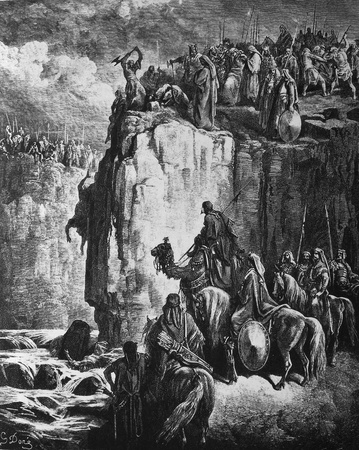 baal: Elijah executes the prophets of Baal  1  Le Sainte Bible  Traduction nouvelle selon la Vulgate par Mm  J -J  Bourasse et P  Janvier  Tours  Alfred Mame et Fils  2  1866 3  France 4  Gustave Dor�