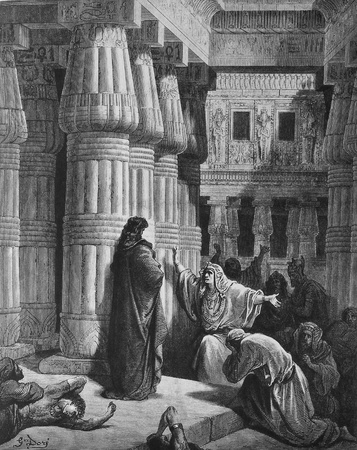 Pharaoh banishes Moses out of Egypt  1  Le Sainte Bible  Traduction nouvelle selon la Vulgate par Mm  J -J  Bourasse et P  Janvier  Tours  Alfred Mame et Fils  2  1866 3  France 4  Gustave Doré Stock Photo - 12994141
