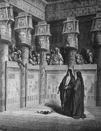 Moses and Aaron before Pharaoh  1  Le Sainte Bible  Traduction nouvelle selon la Vulgate par Mm  J -J  Bourasse et P  Janvier  Tours  Alfred Mame et Fils  2  1866 3  France 4  Gustave Doré