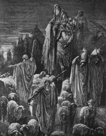 old testament: Israel is on its way to Egypt  1  Le Sainte Bible  Traduction nouvelle selon la Vulgate par Mm  J -J  Bourasse et P  Janvier  Tours  Alfred Mame et Fils  2  1866 3  France 4  Gustave Dor� Editorial