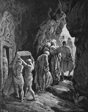 The Burial of Sarah  1  Le Sainte Bible  Traduction nouvelle selon la Vulgate par Mm  J -J  Bourasse et P  Janvier  Tours  Alfred Mame et Fils  2  1866 3  France 4  Gustave Doré
