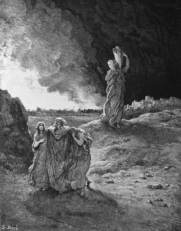 holy  symbol: La destrucci�n de Sodomand y Gomorra 1 Le Sainte Bible Traduction nouvelle selon la Vulgata la par Mm J-J et Bourasse P Janvier Tours Alfred Mame et Fils 2 1866 3 Francia 4 Dor Gustave