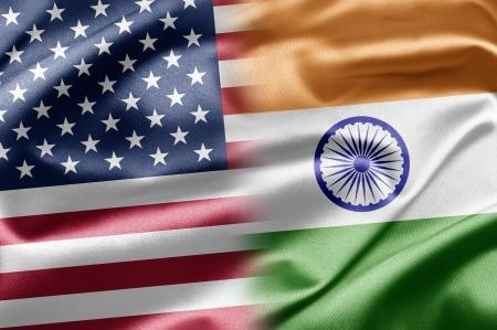 drapeau inde: Etats-Unis et l'Inde Banque d'images