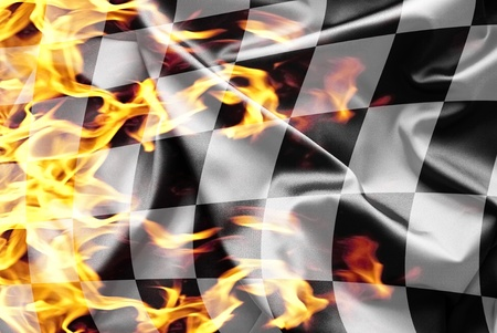 formula one: Finish flag on fire