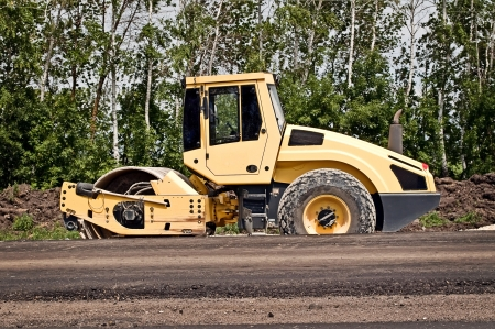 Heavy Vibration roller at asphalt pavement works photo