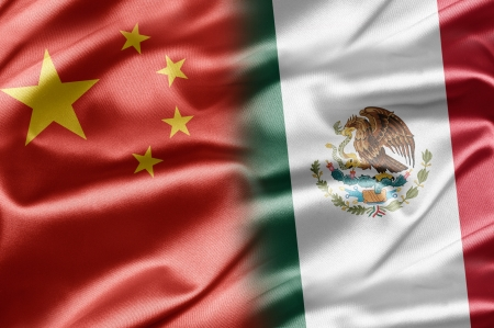 chinese flag: China and Mexico Stock Photo