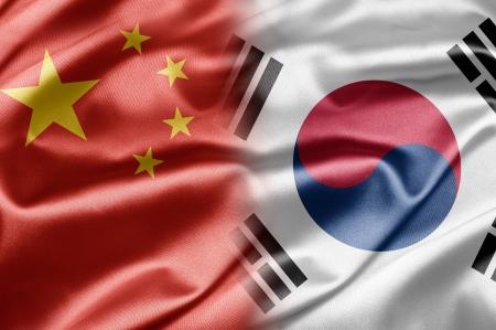 sur: China y Corea del Sur Foto de archivo