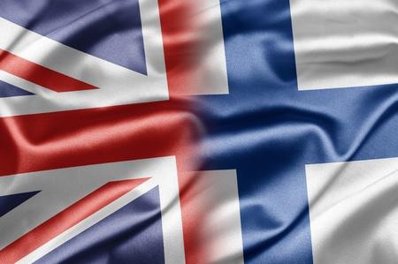bandera inglesa: Reino Unido y Finlandia Foto de archivo