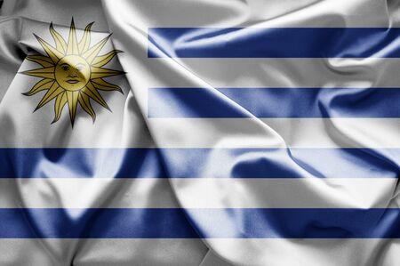 Uruguay flag: Bandera de Uruguay Foto de archivo