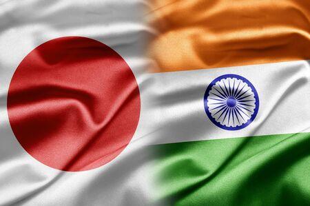bandera japon: Jap�n y la India Foto de archivo