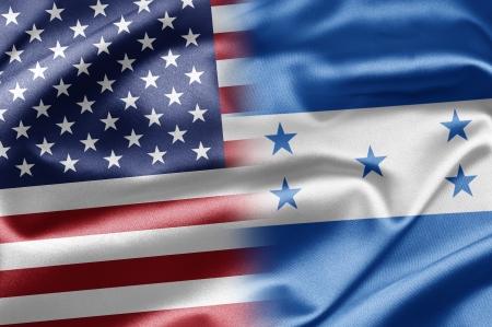 bandera de honduras: EE.UU. y Honduras Foto de archivo