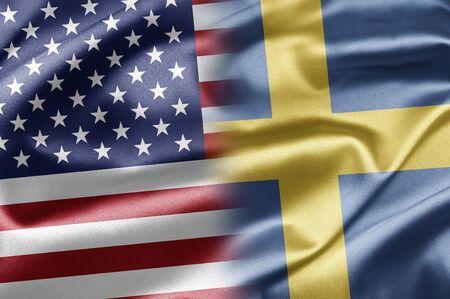 bandera de suecia: EE.UU. y Suecia Foto de archivo