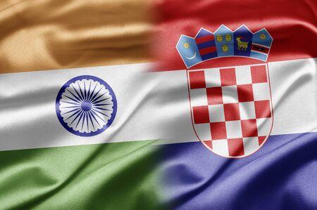 bandera croacia: India y Croacia Foto de archivo