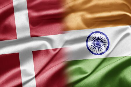 danish flag: Denmark and India Stock Photo