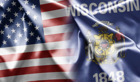 wisconsin flag: Wisconsin Stock Photo