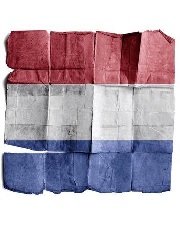 drapeau hollande: Drapeau de la Hollande sur le vieux papier. Banque d'images