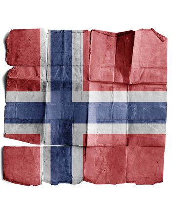 Norway flag on old paper. photo