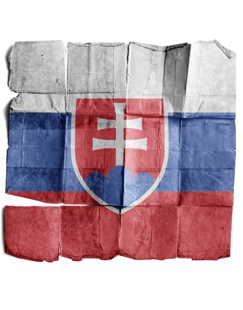 antiqued: Slovakia flag on old paper. Stock Photo
