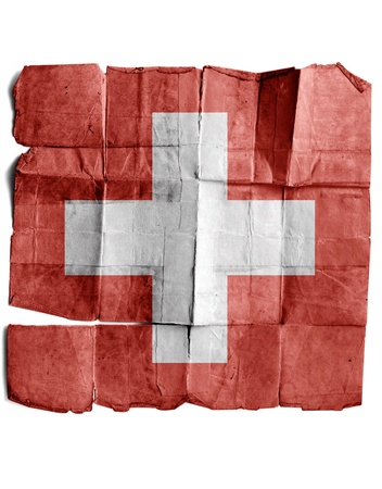 Swiss flag on old paper. photo