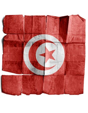 Tunisian Flag on old paper. photo