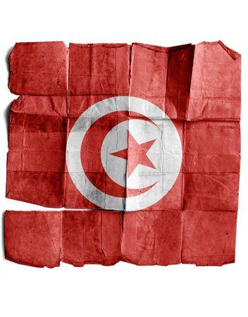 tunisian: Tunisian Flag on old paper.