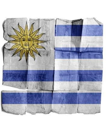 bandera uruguay: Bandera de Uruguay en el papel viejo.