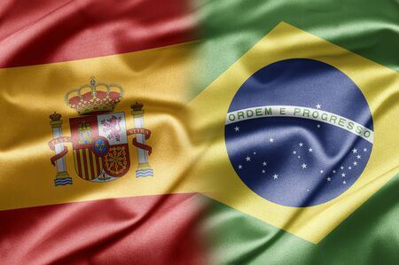 flag of spain: Spain and Brazil Stock Photo