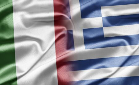 the greek flag: Italy and Greece