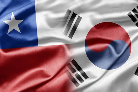 chilean flag: Chile and South Korea Stock Photo