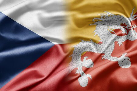 Bhutan: Czech Republic and Bhutan Stock Photo