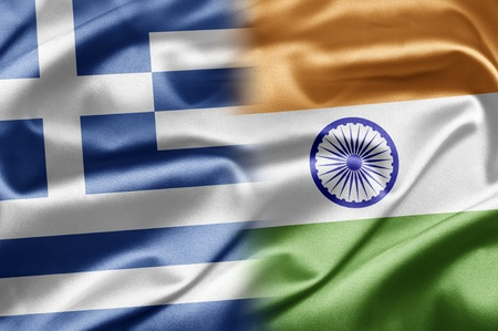 the greek flag: Greece and India Stock Photo