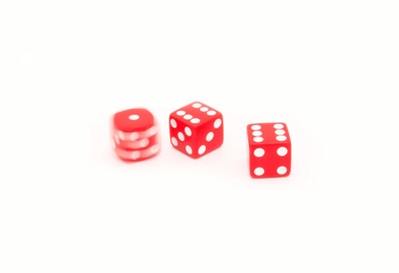 certainty: Red dices isolated on white