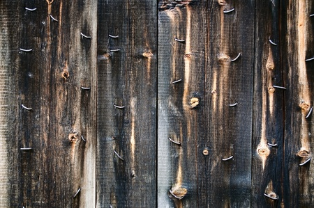 untidily: Old wall with rusty nails