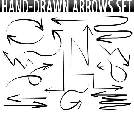 flecha direccion: Flechas dibujadas a mano-set Foto de archivo