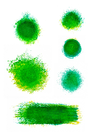 splotches: Set of green oil paint splotches and strokes. Artistic design elements Stock Photo
