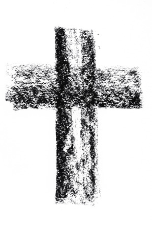 grunge cross: Hand drawn black grunge cross
