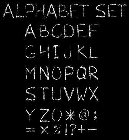 white chalk: English font freehand alphabet pencil sketch