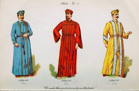 Retro illustration of costumes from different eras. 写真素材 - 124969400