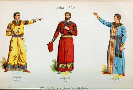 Retro illustration of costumes from different eras. 写真素材 - 124969404